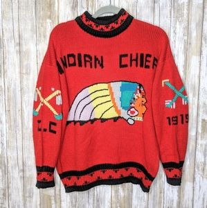 Vtg Indian Chief Knit Sweater Large Rare Red